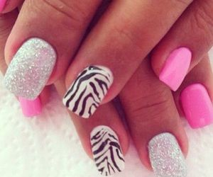 pink, nails, and zebra image