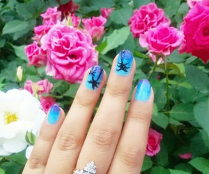 blue, gradient, and nailart image
