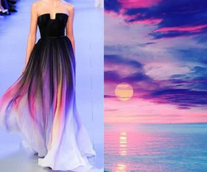 dress, sunset, and nature image
