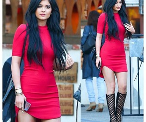 kylie jenner, red, and dress image