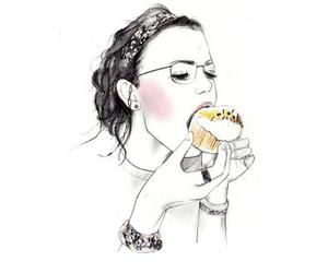 girl, art, and cupcake image