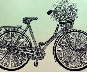 black and white, cycle, and doodle image