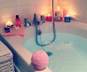 bath, candle, and pink image