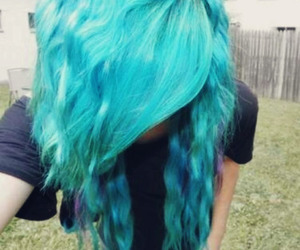 hair, girl, and blue hair image