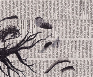 drawing, art, and newspaper image