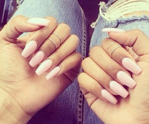 nails, pink, and jeans image