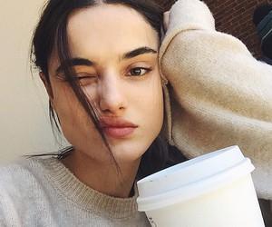 girl, coffee, and beauty image