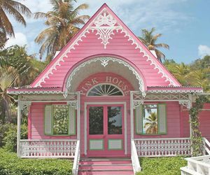 pink, house, and pink house image