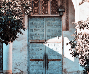 door, blue, and travel image