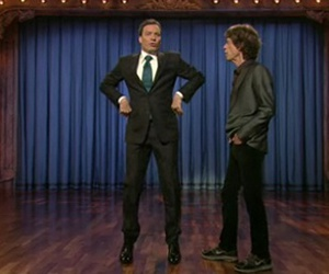 jimmy fallon, mick jagger, and onstage image