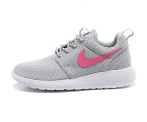 nike, grey and pink, and roshe run image