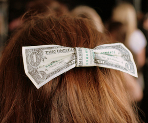 hair, money, and bow image
