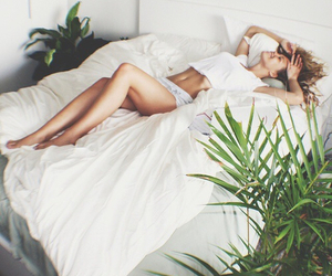 girl, bed, and white image