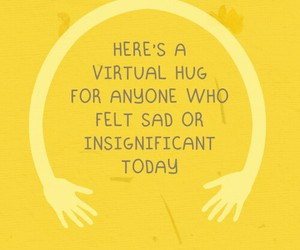 hug, quotes, and yellow image