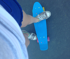converse, penny boarding, and shoes image