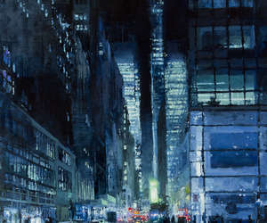 city, art, and painting image