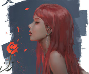 art, red hair, and wlop image
