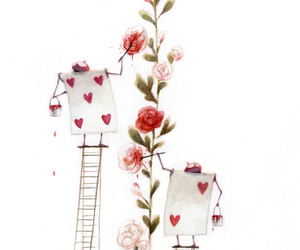 alice in wonderland, rose, and cards image