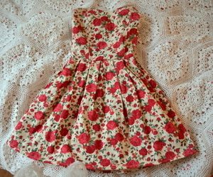dress, flowers, and red image