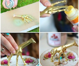 diys, ring holder, and gold spray paint image