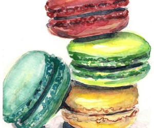 watercolor macaroons, drawing macaroons, and drawing desserts image