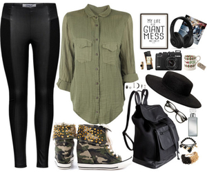 leather bag, army print, and boots image