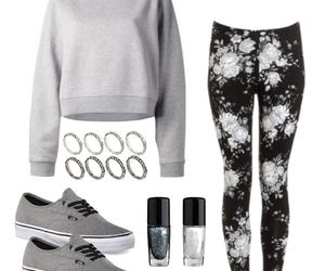 nail polish, grey sweater, and grey vans image