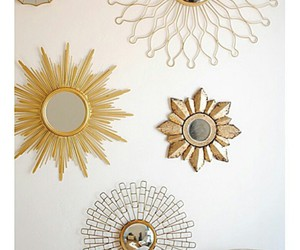 wall decor, gallery wall, and gold mirrors image