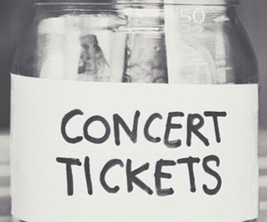 concert, tickets, and black and white image