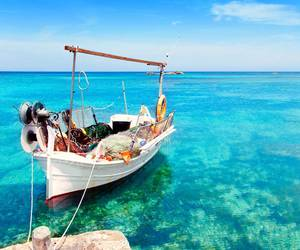 beach, boat, and paradise image