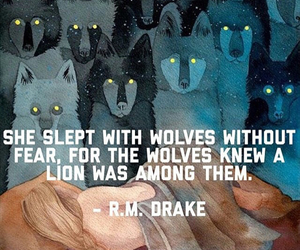 quote, lion, and wolf image