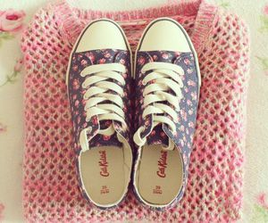 pink, shoes, and sweater image