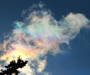 sky, clouds, and iridescent image