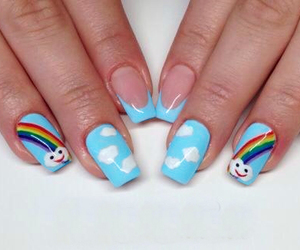 blue nails, clouds, and girly image