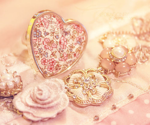 pink, flowers, and heart image