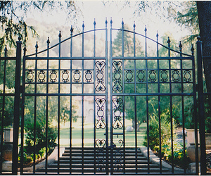 house, nature, and gate image