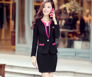 blazer, officewear, and skirt and tank top image