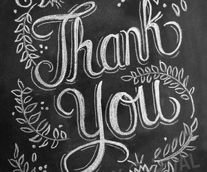 black and white, thank you, and typography image