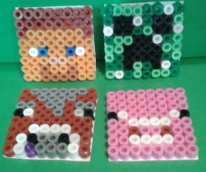 arts and crafts for kids, minecraft hama beads, and minecraft crafts for kids image
