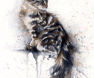art, painting, and cat image