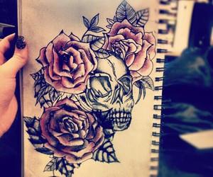 rose, drawing, and skull image