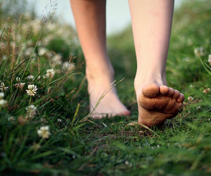 feet, flowers, and nature image