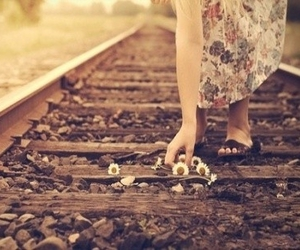 flowers, girl, and train image