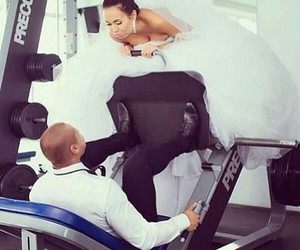 couple, just married, and workout image