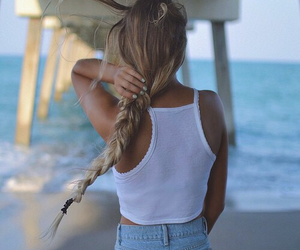 beach, braid, and girl image