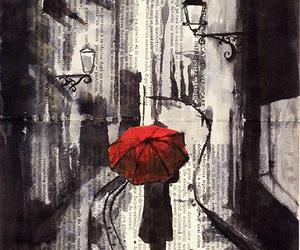 red, art, and rain image