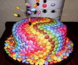 cake, smarties, and sweet image