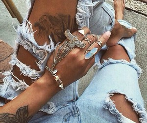 tattoo, jeans, and style image