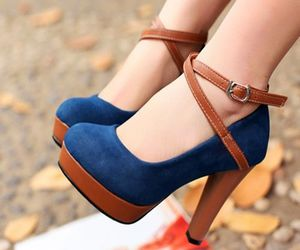 blue, shoes, and brown image
