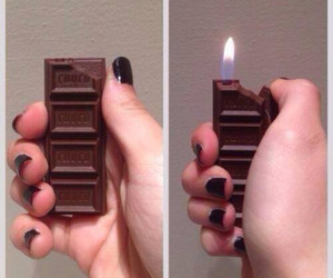 chocolate, lighter, and nails image